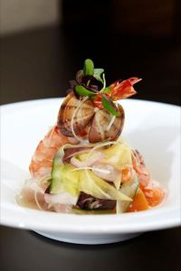Mixed Seafood and Mango Salad with Sake Vinaigrette
