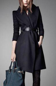 Manteau noir granc col ceinturé