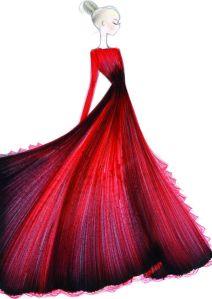 Croquis robe valentino
