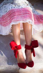 Valentino chaussure ruban rouge