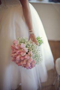Mariée bouquet tulipe rose