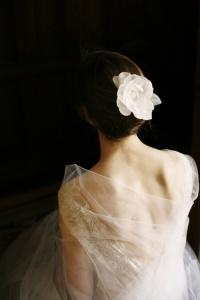Mariée dos fleur cheveux