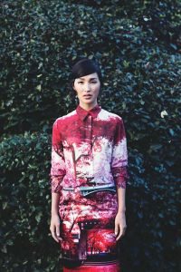 Mary Katrantzou chinoise rouge