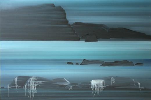 Expo Anne Guillotel Archipel,2013, huile sur toile,97*146 cm