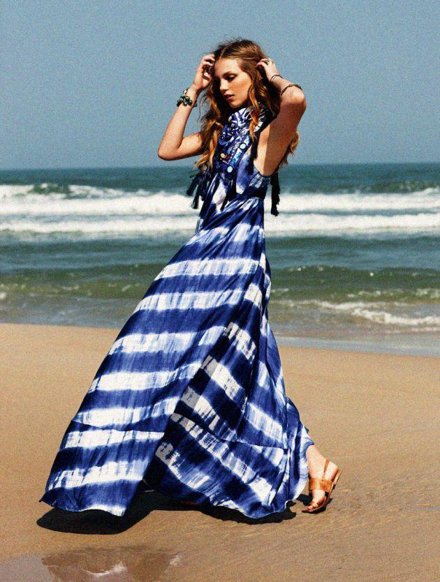 Maxi dress rayures bleu