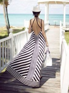 Maxi dress rayures marine et blanc