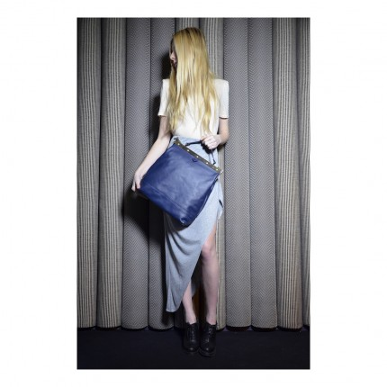 Sac Tammy & Benjamin-cuir-bleu-fermoir-metallique